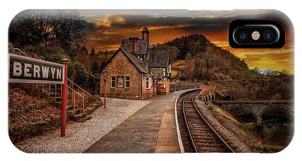 Sleeper iPhone Case - Berwyn Railway Station Sunset by Adrian Evans