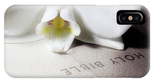 Spirituality iPhone Case - Bible With White Orchid by Tom Mc Nemar