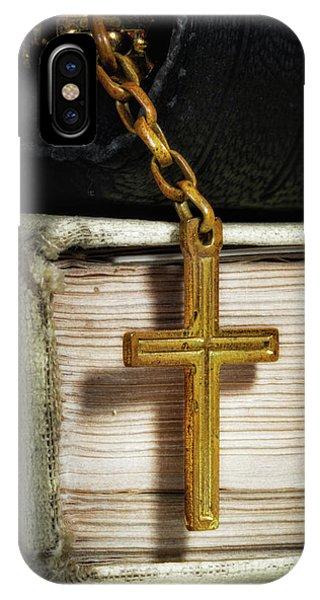New Testament iPhone Case - Bibles With Cross by Tom Mc Nemar