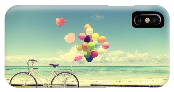 Form iPhone Case - Bicycle Vintage With Heart Balloon On by Jakkapan