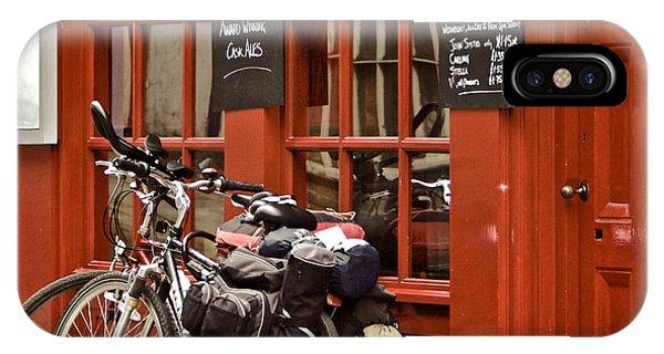 Menu iPhone Case - Bicycles On The British Pub, Durham by Vividrange
