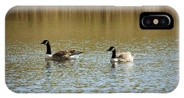 Bidston.  Bidston Moss Wildlife Reserve. Two Geese. IPhone Case