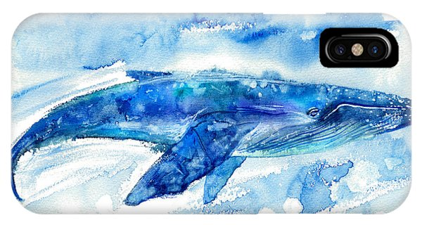 Fins iPhone Case - Big Blue Whale And Water.watercolor by Jula lily