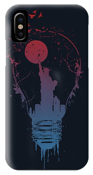 Moon iPhone Case - Big City Lights by Balazs Solti