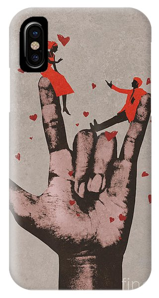 Romance iPhone Case - Big Hand In I Love You Sign With by Tithi Luadthong