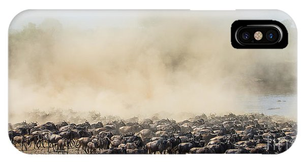Zoology iPhone Case - Big Herd Of Wildebeest Is About Mara by Gudkov Andrey