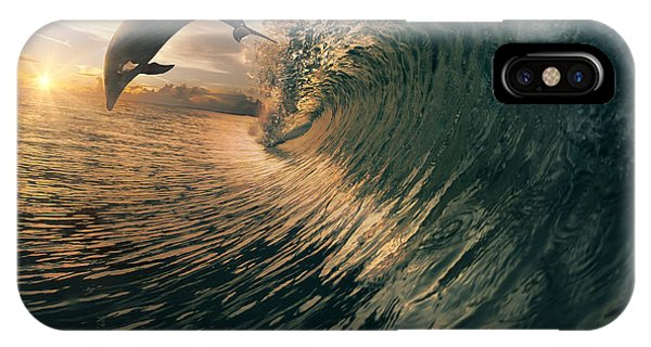 Dolphin iPhone Case - Big Ocean Breaking Wave And Sunset by Willyam Bradberry