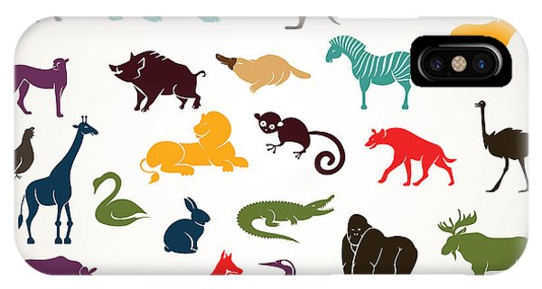 Zoology iPhone Case - Big Set Of African And European Animals by Baldyrgan