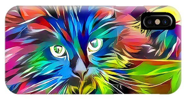 IPhone Case featuring the digital art Big Whiskers Cat by Don Northup