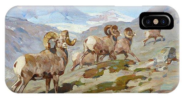 Rocky Mountain Bighorn Sheep iPhone Case - Bighorn Sheep, Nigel Pass, Alberta, 1919 by Carl Rungius