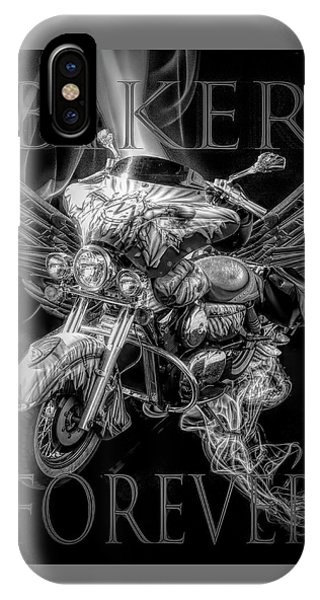 Light Speed iPhone Case - Biker Forever In Black And White by Debra and Dave Vanderlaan