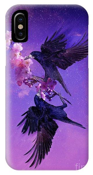 Dark Violet iPhone Case - Bird Kingdom 5 by Johan Lilja