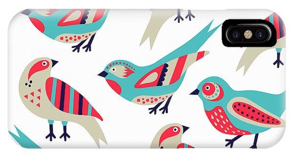 Cute Bird iPhone Case - Bird Seamless Pattern by Texturis