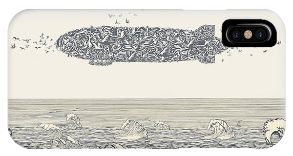 Ink iPhone Case - Birds Flock In Zeppelin Formation Above by Ryger