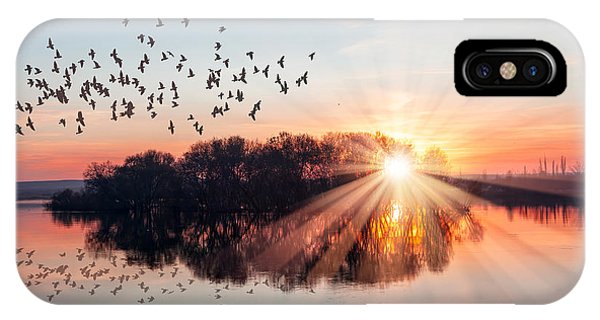 Beautiful Sunrise iPhone Case - Birds Silhouettes Flying Above The Lake by Muratart