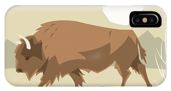 Cutout iPhone Case - Bison In A Decorative Illustration by Artistan