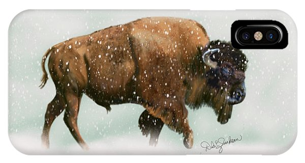 Bison In Snow Storm IPhone Case