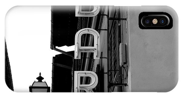 Bar iPhone Case - Black And White Neon Lights Spelling by Robin Nieuwenkamp