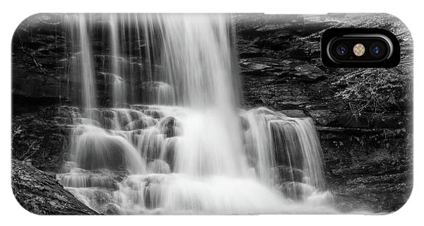 Black And White Photo Of Sheldon Reynolds Waterfalls IPhone Case