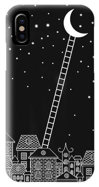 Bricks iPhone Case - Black And White To The Moon And Back by In dies magis
