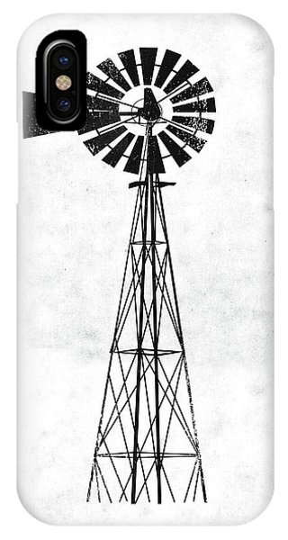 Windmill iPhone Case - Black And White Windmill 1- Art By Linda Woods by Linda Woods