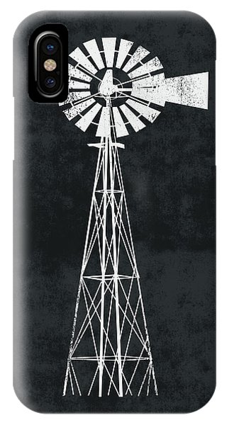 Windmill iPhone Case - Black And White Windmill 2- Art By Linda Woods by Linda Woods