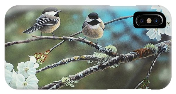 IPhone Case featuring the photograph Black Capped Chickadees by Peter Mathios