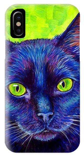 Black Cat With Chartreuse Eyes IPhone Case
