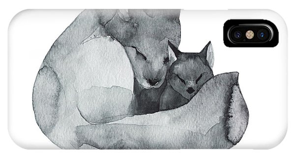 One iPhone Case - Black Fox And The Baby-watercolor by Kat branches