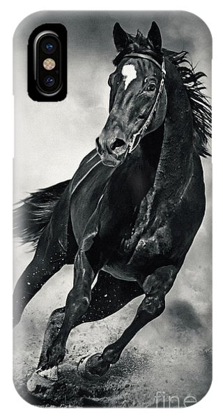 IPhone Case featuring the photograph Black Horse Running Wild Black And White by Dimitar Hristov