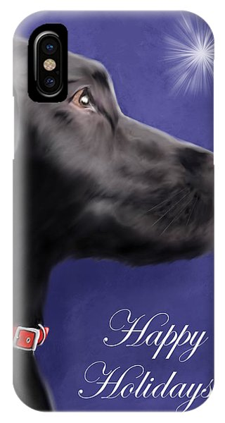 Black Labrador Retriever - Happy Holidays IPhone Case