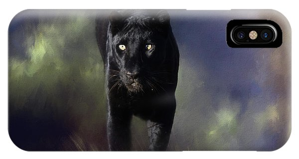 Black Leopard In The Grass IPhone Case