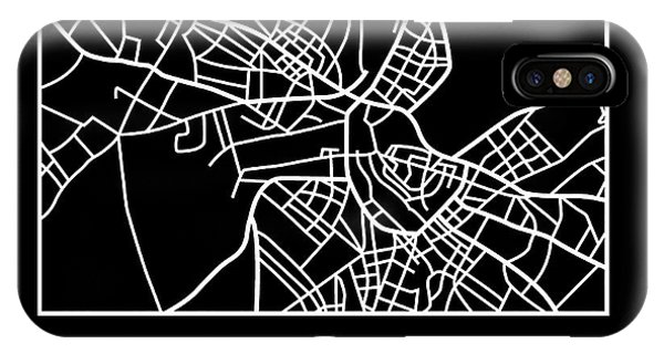 Souvenirs iPhone Case - Black Map Of Helsinki by Naxart Studio