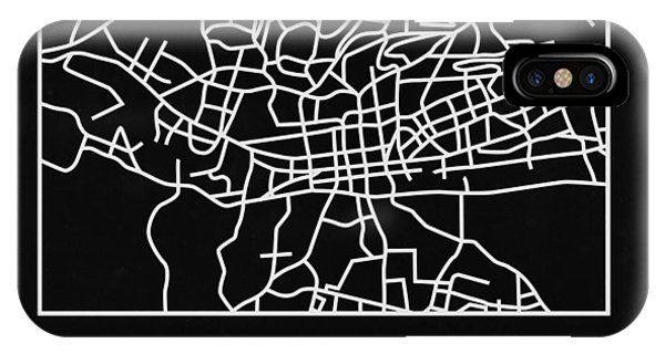 Souvenirs iPhone Case - Black Map Of Johannesburg by Naxart Studio