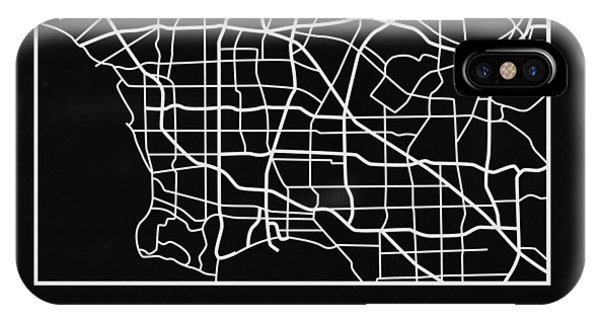 Souvenirs iPhone Case - Black Map Of Los Angeles by Naxart Studio