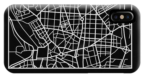Souvenirs iPhone Case - Black Map Of Madrid by Naxart Studio