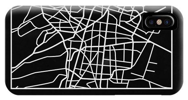 Souvenirs iPhone Case - Black Map Of Mexico City by Naxart Studio
