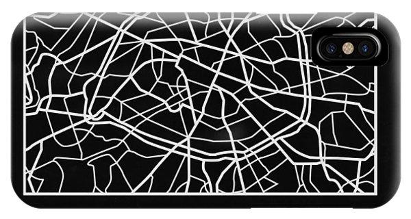 Paris iPhone Case - Black Map Of Paris by Naxart Studio