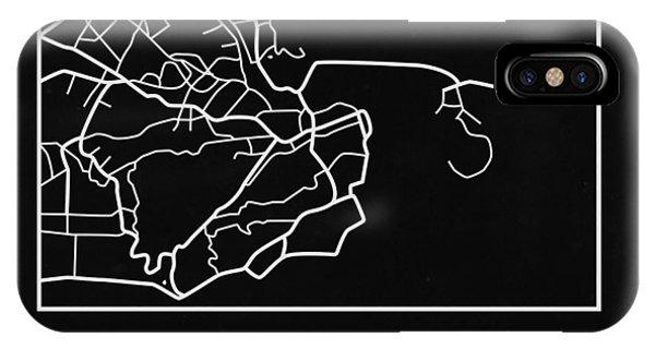 Brazil iPhone X Case - Black Map Of Rio De Janeiro by Naxart Studio