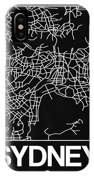 Souvenirs iPhone Case - Black Map Of Sydney by Naxart Studio