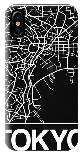 Souvenirs iPhone Case - Black Map Of Tokyo by Naxart Studio