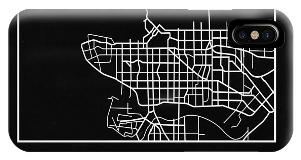 Souvenirs iPhone Case - Black Map Of Vancouver by Naxart Studio