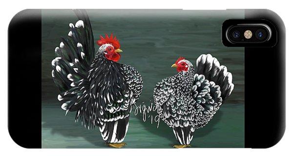 Black Mottled Serama Pair IPhone Case