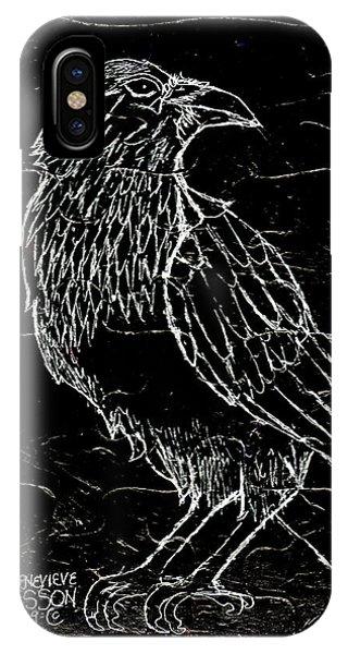 Raven iPhone Case - Black Raven by Genevieve Esson
