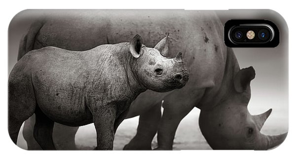 Mammal iPhone Case - Black Rhinoceros Baby And Cow by Johan Swanepoel