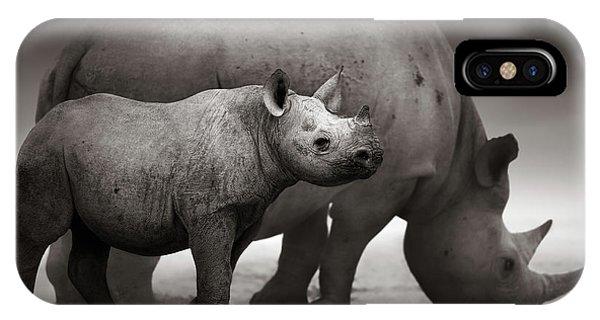 Salt Water iPhone Case - Black Rhinoceros Baby And Cow by Johan Swanepoel