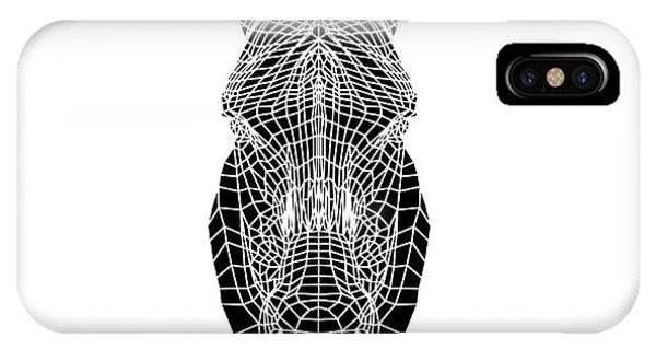 Lynx iPhone Case - Black Zebra Head Mesh by Naxart Studio
