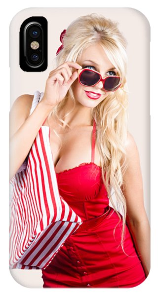 Window Shopping iPhone Case - Blond Woman Shopping by Jorgo Photography - Wall Art Gallery