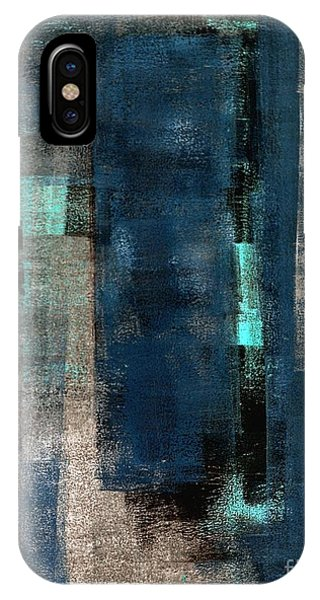 Gallery Wall iPhone Case - Blue And Beige Abstract Art Painting by T30 Gallery