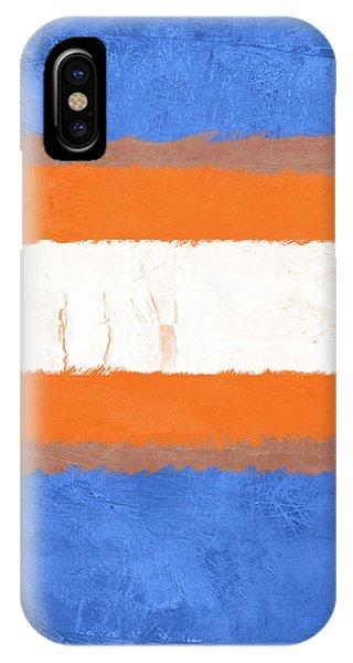 Century iPhone Case - Blue And Orange Abstract Theme I by Naxart Studio
